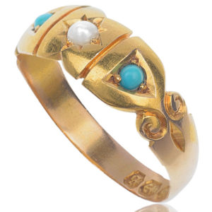 Pretty... Original Victorian Pearl and Turquoise ring -2605