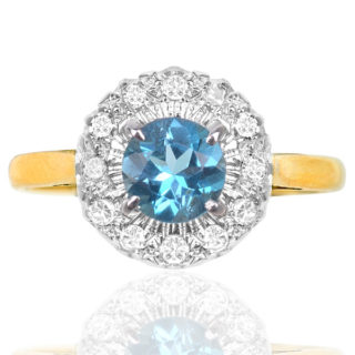 Snowflake... Original Art Deco Zircon and Diamond Daisy ring -0