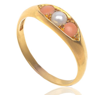Angel Skin... Antique Coral and Pearl ring-0