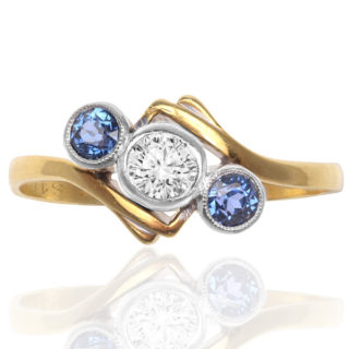 ***SOLD*** Art Deco Sapphire and Diamond 'Trilogy' ring -0