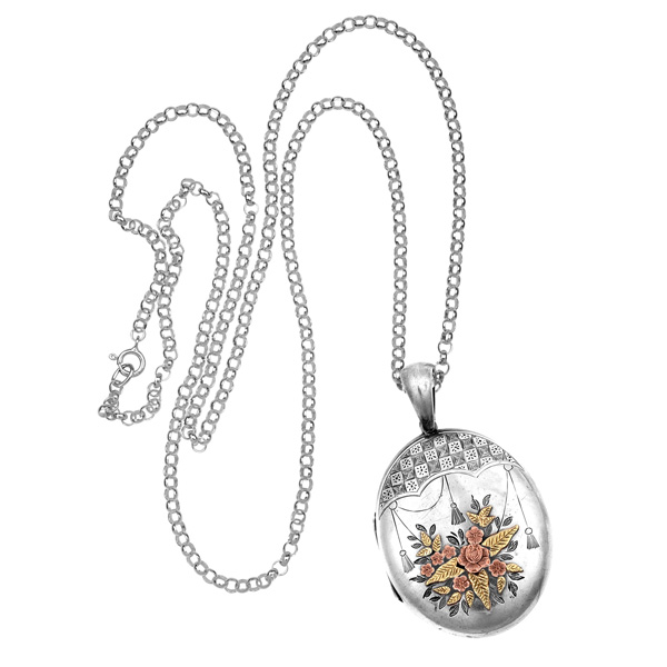 Take a bow... Edwardian Silver and Gold locket and Chain-2768