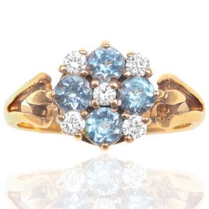 Vintage Zircon and Diamond Daisy ring -0