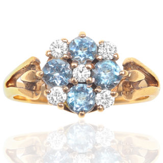 Vintage Zircon and Diamond Daisy ring -0