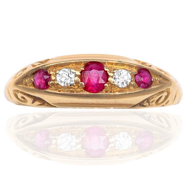 'Downton Abbey'... Edwardian Ruby and Diamond ring -0