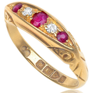 'Downton Abbey'... Edwardian Ruby and Diamond ring -2824