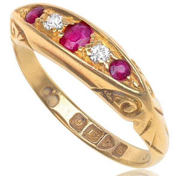 'Downton Abbey'... Edwardian Ruby and Diamond ring -2824