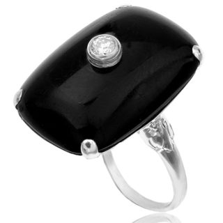 ***SOLD*** Black and White... Original Art Deco Onyx and Diamond ring -0