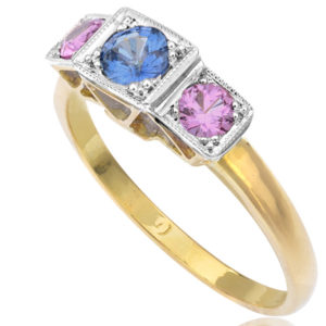 True Love... Pink and Blue Sapphire ring -0