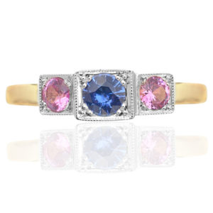 True Love... Pink and Blue Sapphire ring -2799