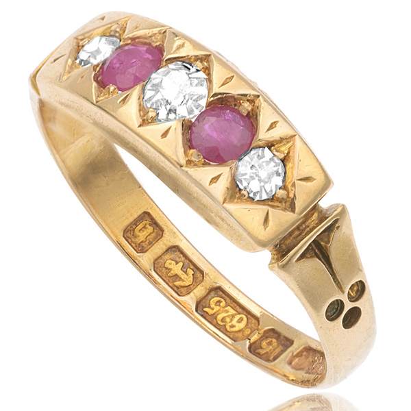 Belle of the Ball... Original Antique Ruby and Diamond ring-2832