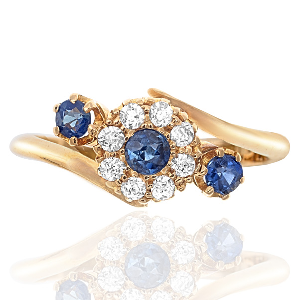 Antique Sapphire and Diamond Daisy ring -0