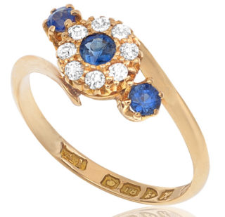 Antique Sapphire and Diamond Daisy ring -2856