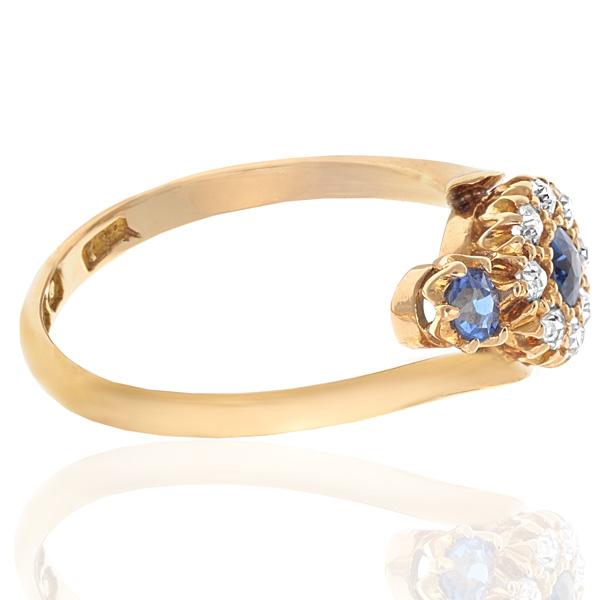 Antique Sapphire and Diamond Daisy ring -2857