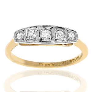 Classic... Original Art Deco 5 stone Diamond ring-0