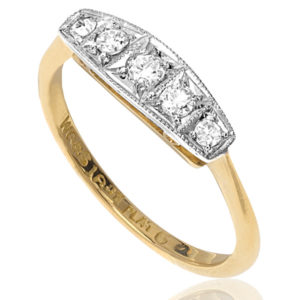 Classic... Original Art Deco 5 stone Diamond ring-2900