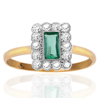 Glorious... Original Art Deco Emerald and Diamond Plaque ring-0