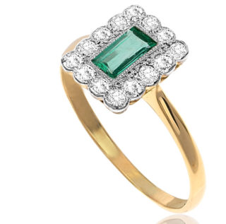 Glorious... Original Art Deco Emerald and Diamond Plaque ring-2888