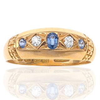 ***SOLD*** True Blue... Antique Sapphire and Diamond ring-0