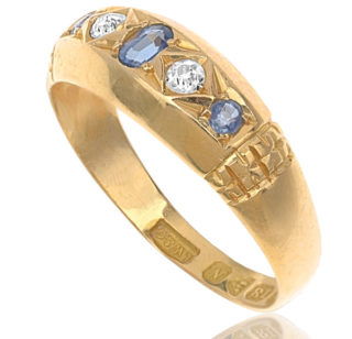 ***SOLD*** True Blue... Antique Sapphire and Diamond ring-2872