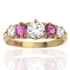 Victorian Ruby and Diamond ring -0