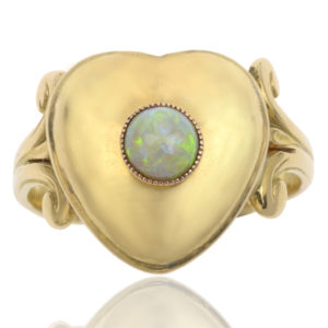 Heart to Heart... Antique Opal Locket ring -0