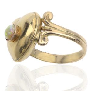 Heart to Heart... Antique Opal Locket ring -2943