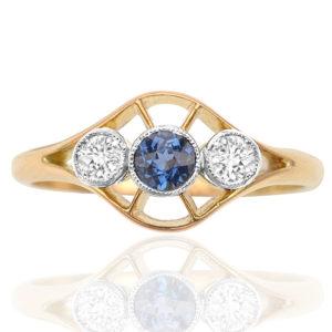 Dashing Deco... Original 1920s Sapphire and Diamond ring -0