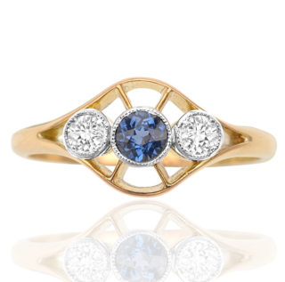 Dashing Deco... Original 1920s Sapphire and Diamond ring -0