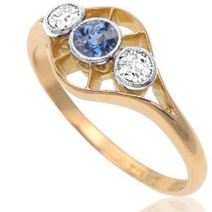 Dashing Deco... Original 1920s Sapphire and Diamond ring -2985