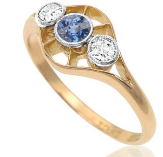 Dashing Deco... Original 1920s Sapphire and Diamond ring -2985