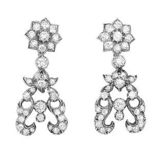 Opulent... Antique Diamond Drop Earrings -0