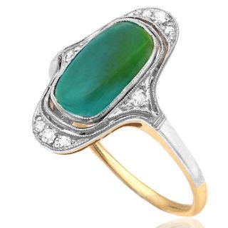 ***SOLD*** Original Art Deco Tourmaline and Diamond ring -0