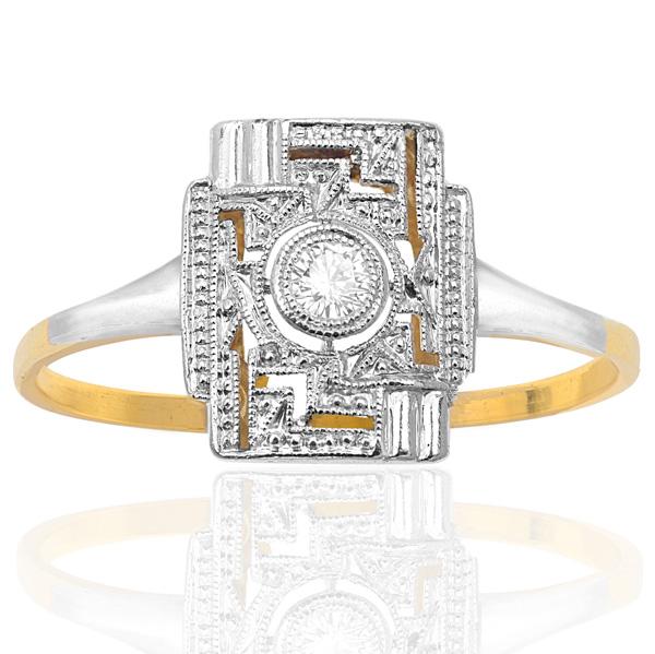 Cabaret... Original Art Deco Diamond Plaque ring-0