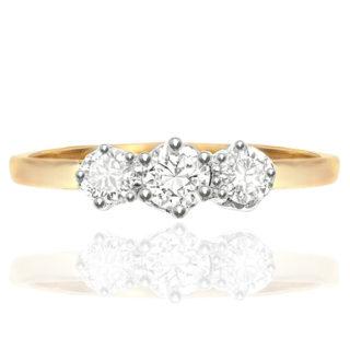 Past, Present, Future... Art Deco Diamond Trilogy Engagement ring -0
