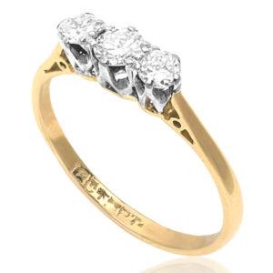 Past, Present, Future... Art Deco Diamond Trilogy Engagement ring -3013