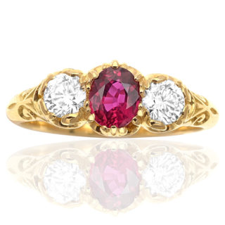 ***SOLD*** Rich Red... Ruby and Diamond 'Trilogy' ring -0