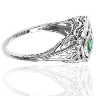 ***SOLD*** Emerald City... Original 1920s Emerald and Diamond ring-3057