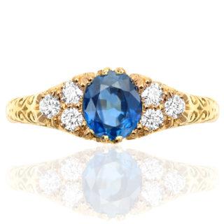 Cornflower Blue...Handmade Sapphire and Diamond ring -0