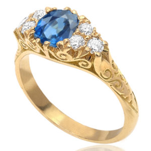 Cornflower Blue...Handmade Sapphire and Diamond ring -3025