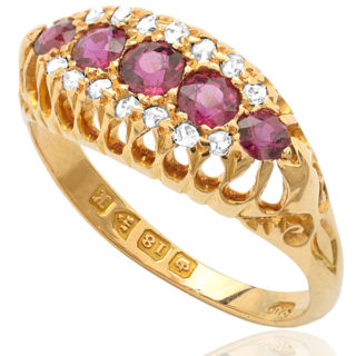 Ruby Princess... Original Antique Ruby and Diamond ring -0