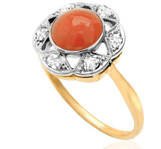 Hello RED... Original Art Deco Coral and Diamond ring -0