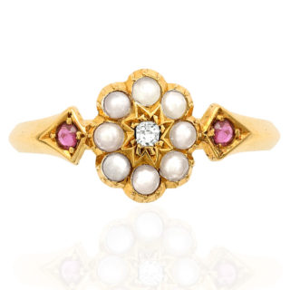 Victorian Pearl, Ruby and Diamond ring -0