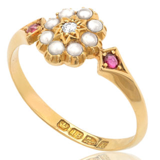 Victorian Pearl, Ruby and Diamond ring -3169