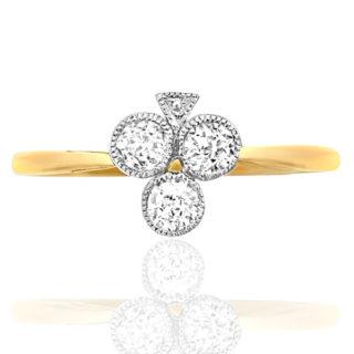 Ace of Clubs... Original Art Deco Diamond ring -0