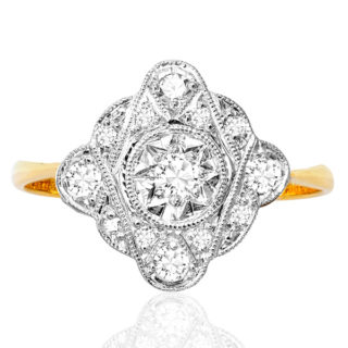 ***SOLD*** Funky... Original Art Deco Diamond Plaque ring -0