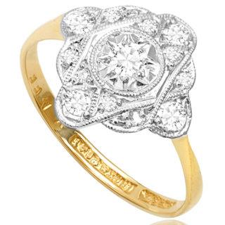 ***SOLD*** Funky... Original Art Deco Diamond Plaque ring -3166