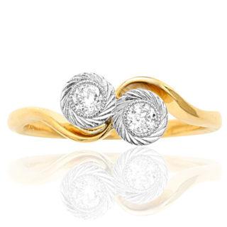 Two of Us... Original Art Deco Diamond ring -0