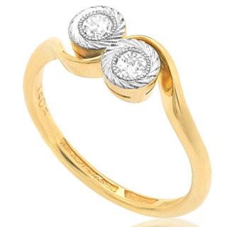 Two of Us... Original Art Deco Diamond ring -3121
