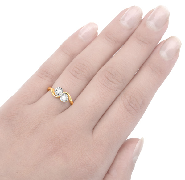 Two of Us... Original Art Deco Diamond ring -3123