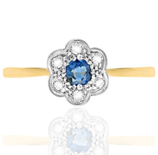 ***SOLD*** What a Petal... Original Art Deco Sapphire and Diamond ring -0